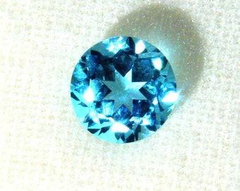 1 pieces 6mm Swiss blue Topaz Faceted Round Loose Gemstone, 6mm Swiss Blue Topaz Round Faceted Gemstone, blue topaz faceted round gemstone
