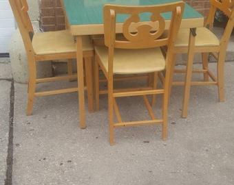 Mid-Century Modern Wood  Nordic Folding Card Table, 4 Folding Chairs