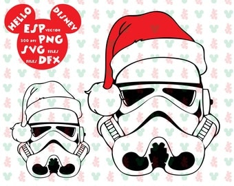 Disney Stormtrooper Christmas hat Clipart - Cut files - Mouse Die Cuts - Svg Dxf Eps Pdf Png - Disney files for Silhouette - Cricut