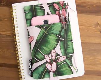 Banana Leaf Planner Cover - Banana Leaf Accessories - Planner Pouch - Planner Accessories - Planner Zipper Pouch - Planner Storage #69