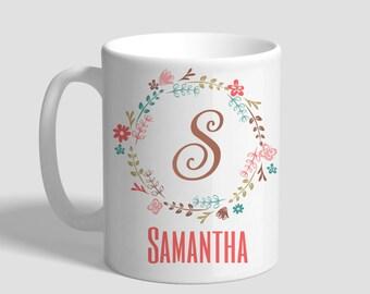 Initial Wreath Personalized Mug