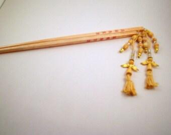 Hair Chopsticks- Yellow angels