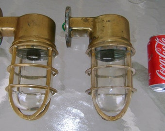 Lovely Pair Vintage Cast Brass Bulkhead Lights - Real Ship Salvage Ready To Install #A