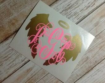 Angel Wings Monogram/Angel Wings Decal/Angel Wings Sticker/ Angel Wings