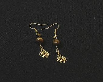 Tiger Eye and Gold elephant dangle earrings
