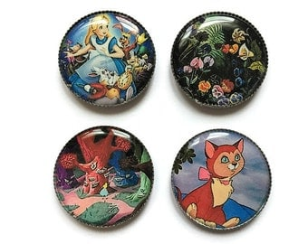 Alice In Wonderland magnets or Alice in Wonderland pins, Dinah, White Rabbit, The Mad Hatter, Queen of Hearts