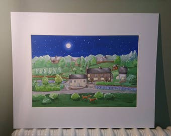 Moonlight in the valley...a giclee print of a small valley in the Wye Valley