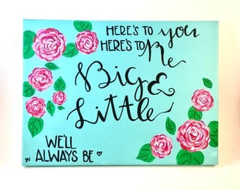 Big & Little Sorority Hand Lettered Canvas Quote Wall Art Painting Wall Room Decor
