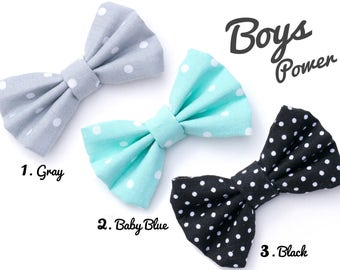 Cool Polka Dots Dog Bow Tie, Gray, Blue, Black