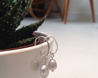 Silver earrings with silver-grey Freshwater Pearl