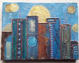 Canvas painting 24.5 x 18.5 structures houses skyline copper gold rust