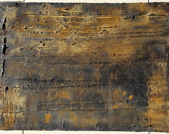 Acrylic painting canvas 40 x 30 rust gold weathered structure abstract modern painting