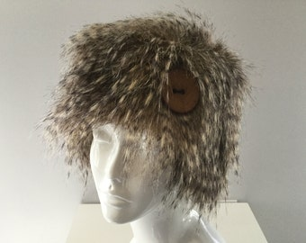 Hat fake fur, casual hat, hat winter, warm hat and headwear fashion