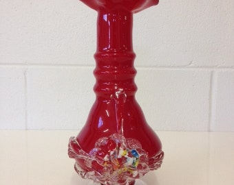 Vintage Retro Murano Style Red Cased Art Glass Vase with Applied Flowers Ruby Red Vase Clear Pedestal Ribbed Neck Applied Floral Motiff
