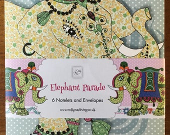 Notelet card set - Elephant design, comprising of 6 notelet cards and 6 envelopes for invitations, thankyous, announcements and greetings
