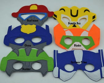 Transformer Rescue Bots Felt Mask - Birthday Party Favor. Great for Boy Child Kid Toddler Superhero Costume Outfit. Heatwave Chase Blades