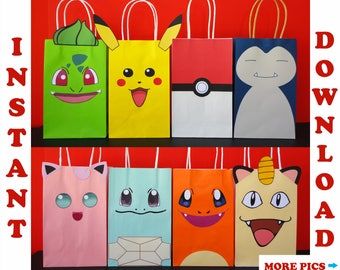 Pokemon Favor Bags/ Pokemon Party Bags/ Pokemon Birthday Party Favors/ Goodie/ Goody/ Loot/ Treat/ Candy/ Gift/ Bags/ Printable Decoration