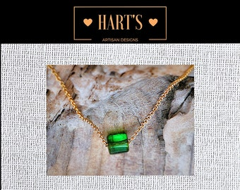Green Chrome Tourmaline 14K Gold Necklace