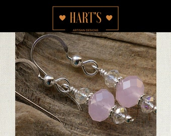 Rose Quartz Crystal Argentium Silver Earrings