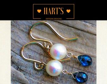 Blue Sapphire Gemstone Akoya Pearl 14K Gold Earrings