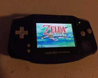 Gameboy Advance GBA with New Backlight Screen AGS-101 Clear Purple Case