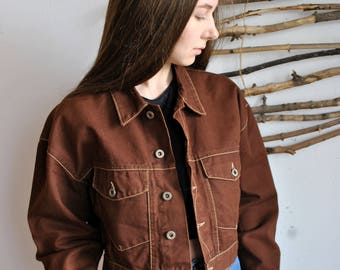 Vintage jacket 1990s 1980s womens brown spring autumn coat