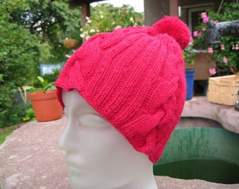 Red Bobble hat with braid stripes in classic style, hand-knitted