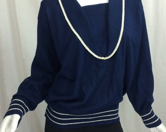 Sailor Sweater Navy Blue and White