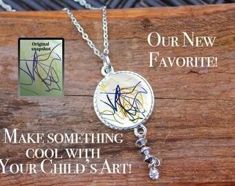 Child's Art Necklace, Child's Name, Handwriting, Child's Handwriting, Kid Art, Preserve art