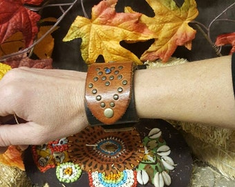 Leather wrist cuff. Hand made. Vintage leathers. Bohemian Cowgirl Collection