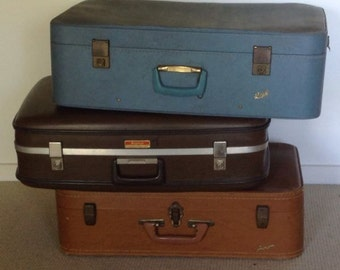 VINTAGE SUITCASE LUGGAGE hard cases various see description