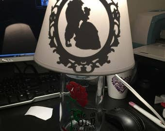 Beauty and the beast inspired mason jar lamp