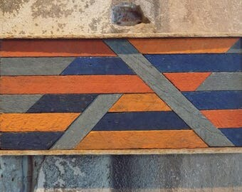 Shapes and Lines - Orange and Blue Lathe Art