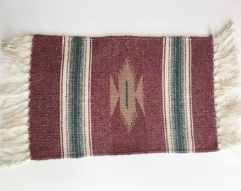 Vintage Mexican Southwestern Native American Chimayo Woven Textile Blanket Wall Hanging Table Runner Placemat