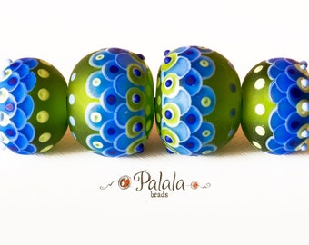 Set of blue and green matted lampwork beads
