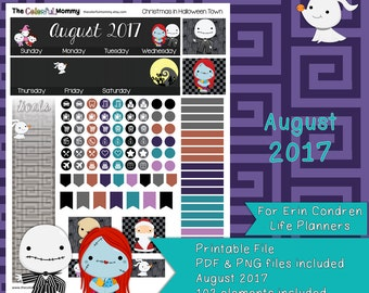 Christmas in Halloween Town AUGUST 2017 Monthly Planner Sticker Kit | use with Erin Condren Planner | Nightmare | Printable | PDF