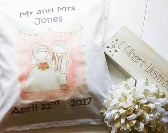 bride and groom cushion