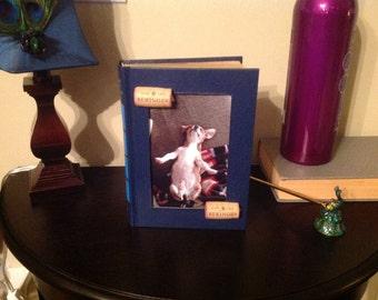 Vintage Book Picture Frame with Wine Corks Dark Blue