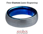Mens Tungsten Wedding Band Ring 6mm for Men or Women Comfort Fit Blue Round Domed Brushed Tungsten Carbide Wedding Ring