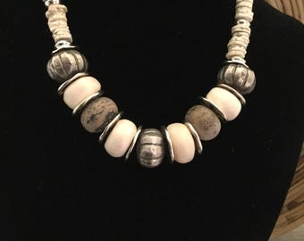 Statement Necklace with Silver, Bone and Matte Sandstone