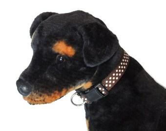 X-Large Brown/White Dots Dog Collar