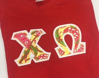 Chi Omega Greek Letter Shirt- Available for LARGE GROUP orders