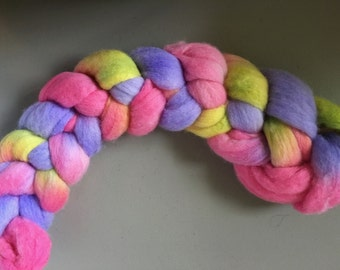 Hand Dyed Merino Roving in Colorway COTTON CANDY