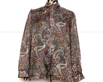 VTG 80s Brown Paisley Sheer Blouse by Dimension V