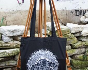 Tote Bag Game of Thrones - Mandala - Stark - Black