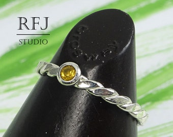 Natural Citrine Flat Rope Silver Ring, 2 mm Round Cut Yellow Citrine Flat Braided Ring, Sterling Citrine Flat Twisted Genuine Citrine Ring