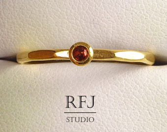 Golden Natural Garnet Faceted Ring, 24K Yellow Gold Plated January Birthstone Ring 2mm Round Cut Red Genuine Garnet Gold Ring Garnet Stacker