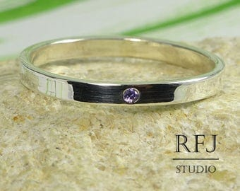 Delicate Lab Amethyst Silver Band, February Birthstone Jewelry, 1.25 mm Round Cut Violet CZ Band 2 mm Sterling Amethyst Stackable Band Ring