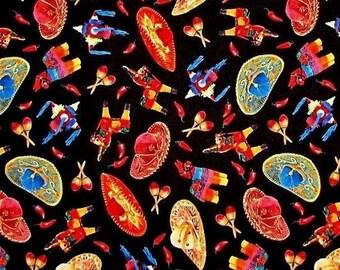 """Cinco de Mayo Fabric - Fiesta Maracas, Pinatas and Sombreros on Black by Elizabeth's Studio  100% cotton fabric by the yard 36""""x43""""  (ES150)"""