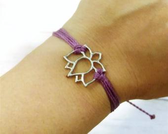 Lotus Charm Bracelet, Wax Cord Bracelet, Waterproof Bracelet, Adjustable Friendship, Boho Surfer Bracelet, Stackable Beach Bracelet